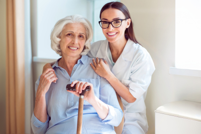 caregiver with her senior patient